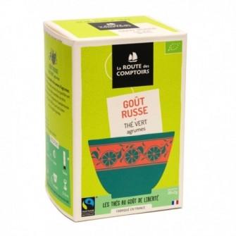 Thé vert Chun Mee, huiles essentielles certifiées de citron,citron-vert, bergamote,pamplemousse,pétales de bleuet et de souci