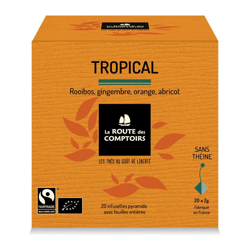 Rooïbos bio gingembre, orange, abricot. La Route des Comptoirs.