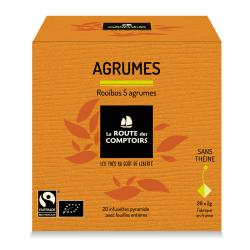 Rooïbos bio citron, bergamote, orange, pamplemousse et limette. La Route des Comptoirs.