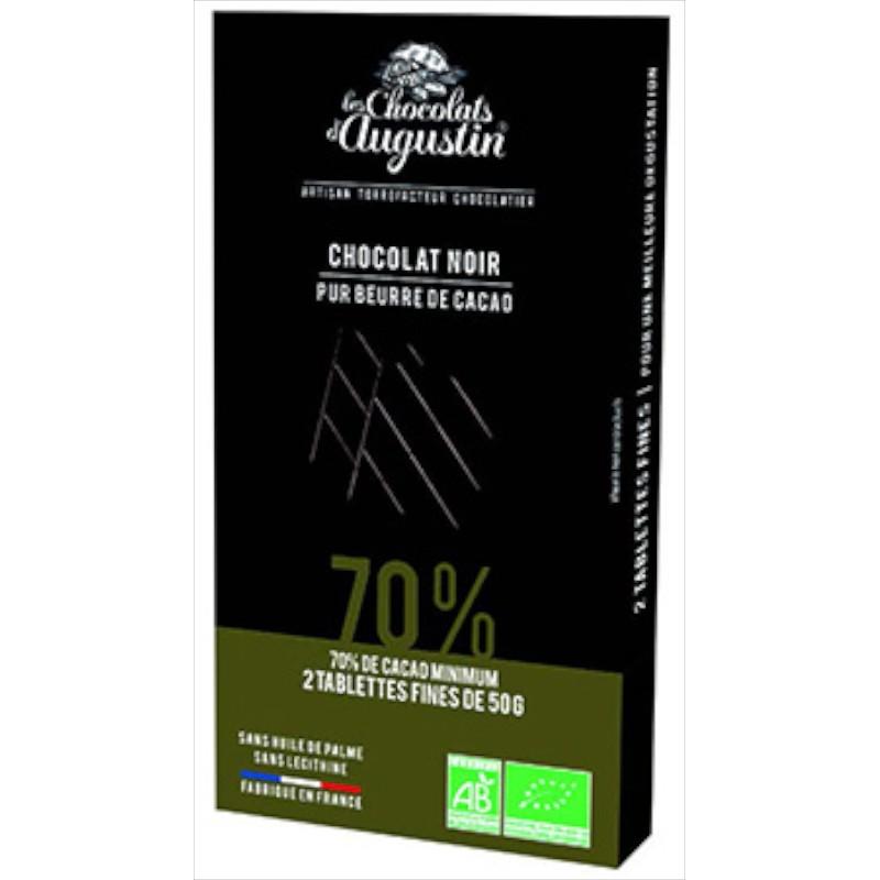 Tablette chocolat noir 70%. Les Chocolats d'Augustin.