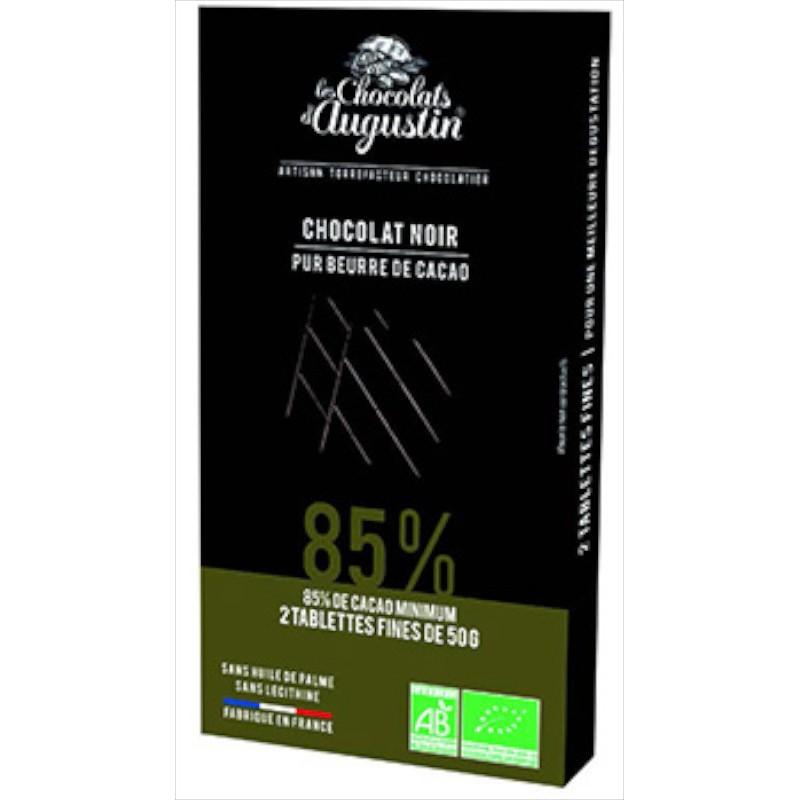 Tablette chocolat noir 85%. Les Chocolats d'Augustin.