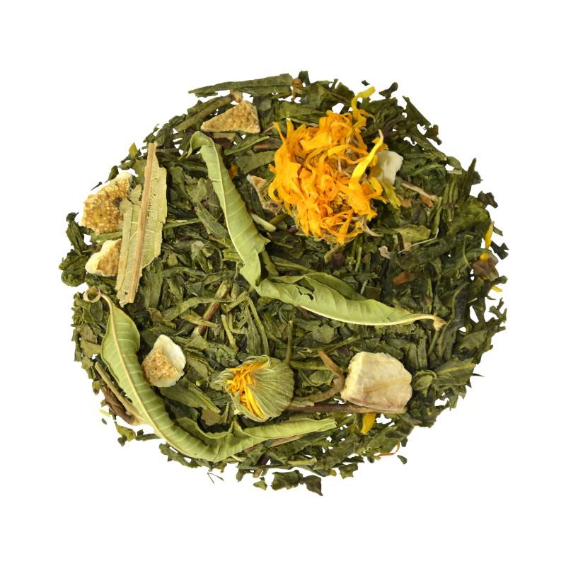 Thé vert de Chine Sencha mandarine-pamplemousse fleurs de tilleul. Le Thé du Torréfacteur.