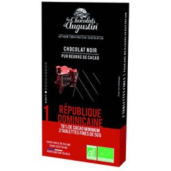 Tablette chocolat noir 70% Republique Dominicaine. Les Chocolats d'Augustin.