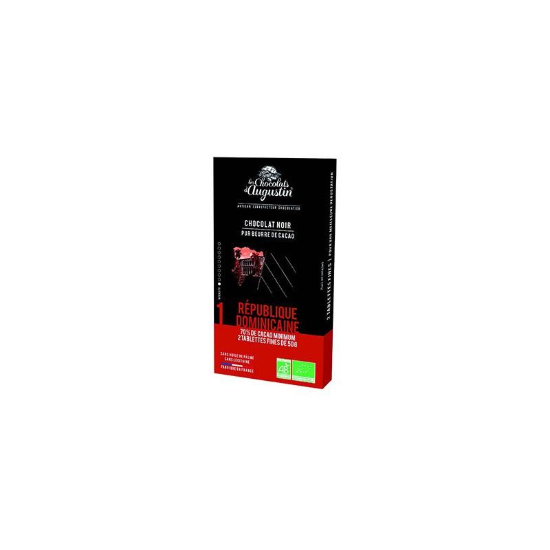 Tablette chocolat noir 70% Republique Dominicaine. Les Chocolats d'Augustin.