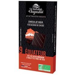 Tablette chocolat noir 70% Equateur. Les Chocolats d'Augustin.