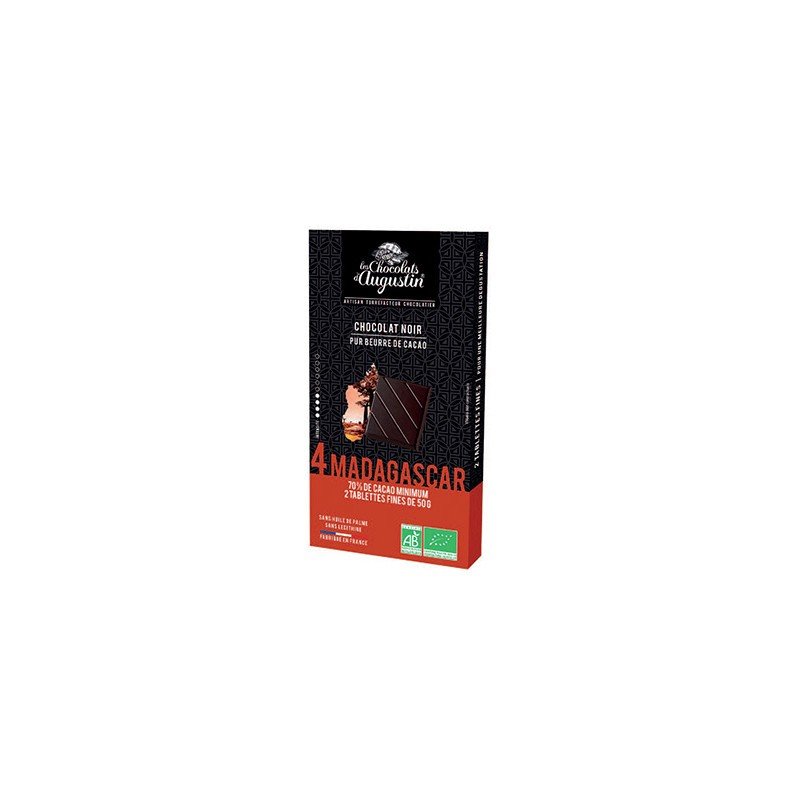 Tablette chocolat noir 70% de Madagascar. Les Chocolats d'Augustin.
