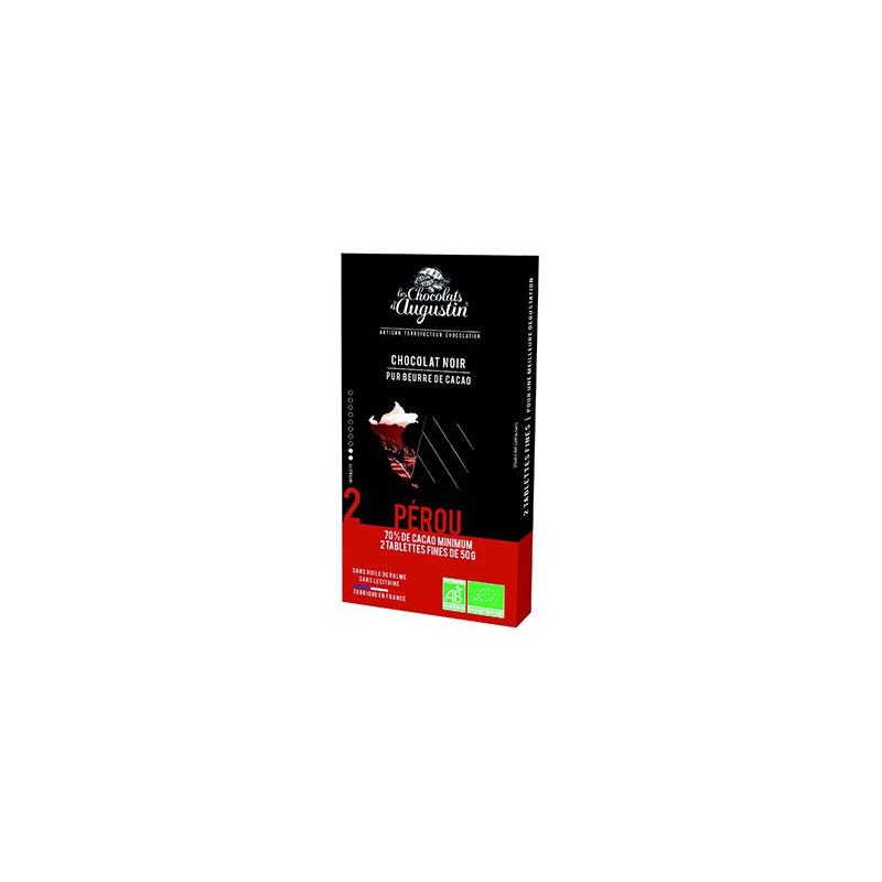 Tablette chocolat noir 70% du Pérou. Les Chocolats d'Augustin.