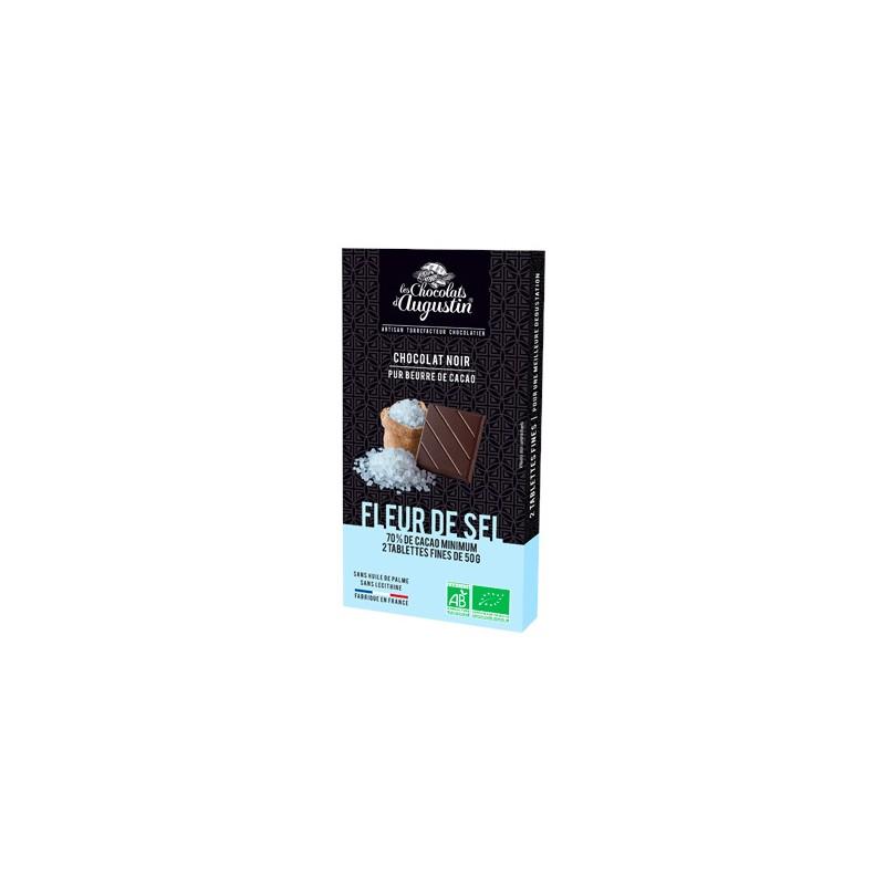 Tablette chocolat noir 70% fleur de sel. Les Chocolats d'Augustin.