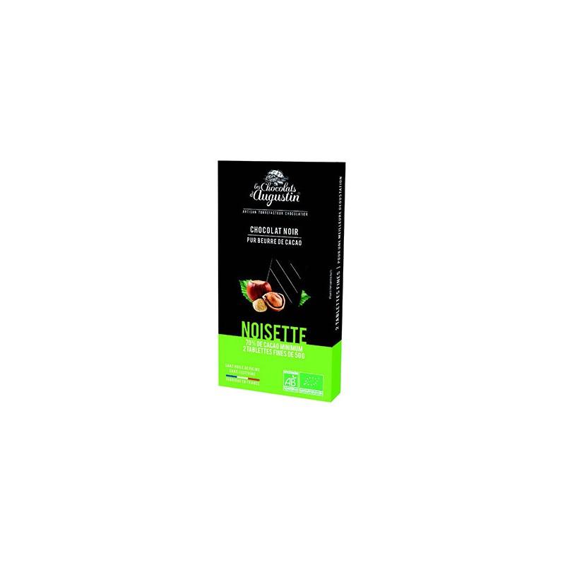 Tablette chocolat noir 70% noisette. Les Chocolats d'Augustin.