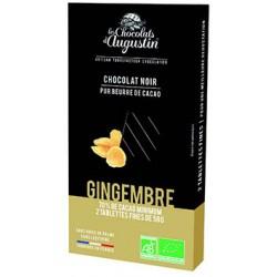 Tablette chocolat noir 70% gingembre confit. Les Chocolats d'Augustin.
