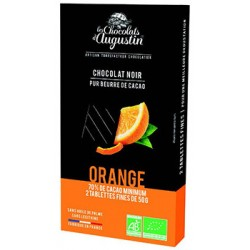 Tablette chocolat noir 70% orange. Les Chocolats d'Augustin.