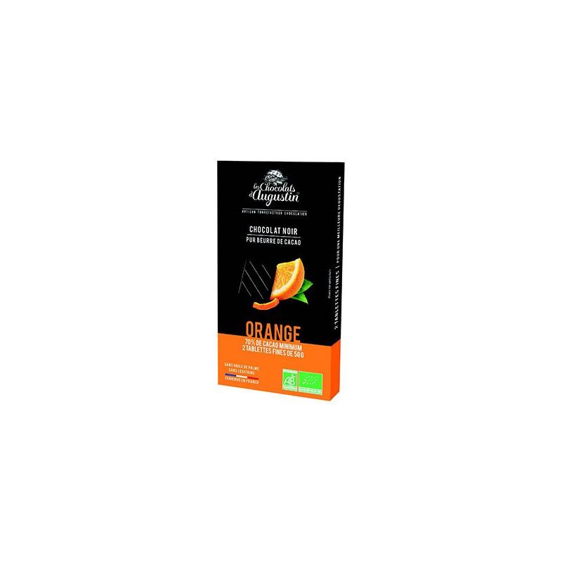 Tablette chocolat noir 70% orange. Les Chocolats d'Augustin.