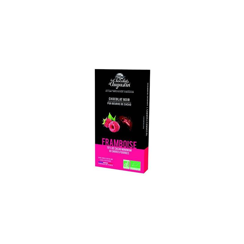 18 carrés chocolat noir 70% framboise bio. Les Chocolats d'Augustin.