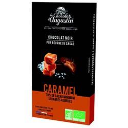 18 carrés chocolat noir 70% caramel bio. Les Chocolats d'Augustin.