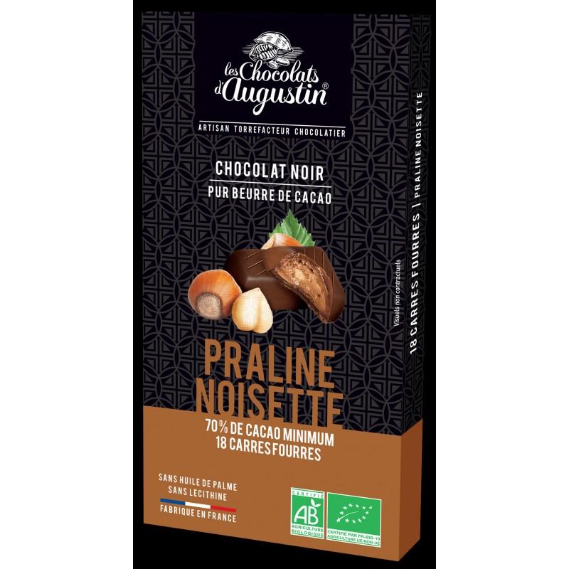 18 carrés chocolat noir 70% praliné noisette bio. Les Chocolats d'Augustin.