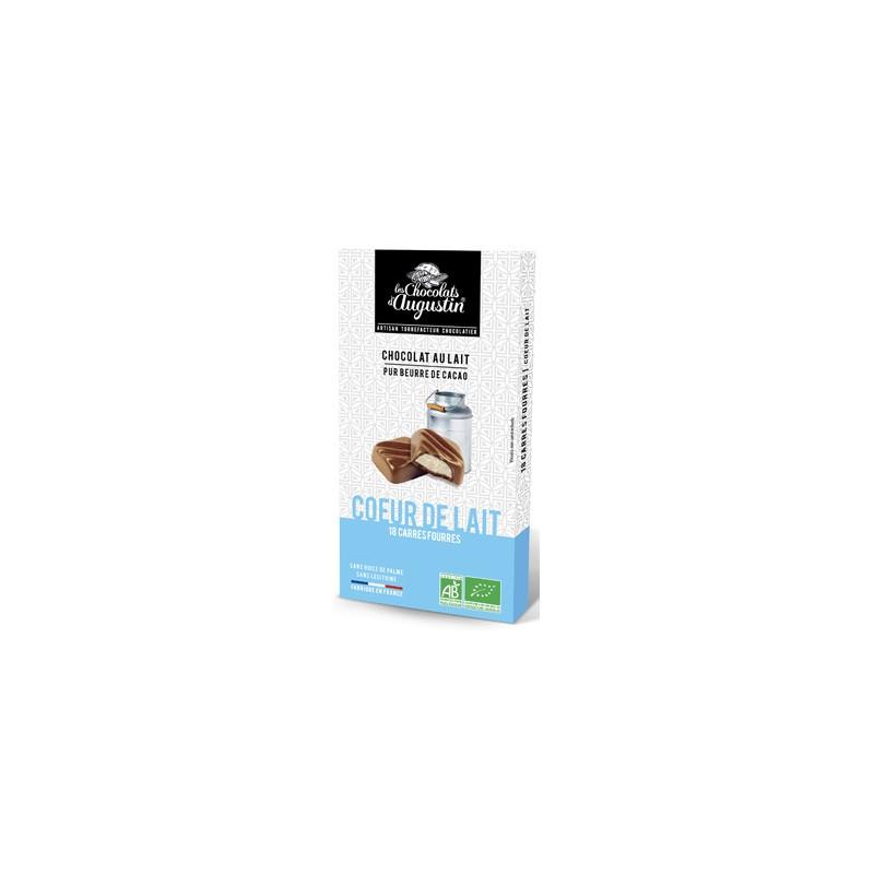 18 carrés chocolat au lait coeur de lait bio. Les Chocolats d'Augustin.